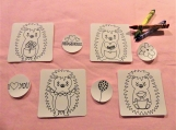 Color me stickers: Valentine's Day Hedgehog set of 8 stickers