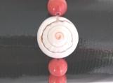 Unique Agate Stone Bracelet with Nautilus Shell Center