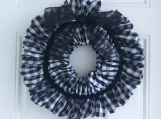 Black and White Buffalo Plaid Ribbon Wreath