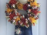 Fall Scarecrow Wreath with Hat and Jeans