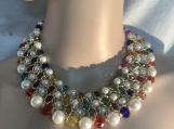 Glass pearl,crystal big bib necklace 1