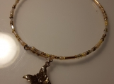 Gold Beaded Memory Wire Bracelet with Charm