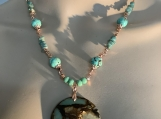 Rosegold teal stone necklace earring set 4