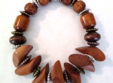Unique Unisex Wood and Bone Bead Stretch Bracelet