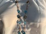 Pmc Aqua rosegold necklace earring set 15