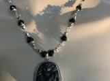 Carved black horse,crystal necklace earring set 10