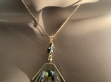 Gold rainbow crystal necklace earring set 33