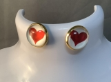 Gold red heart valentines earrings free shipping 3