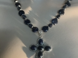 Navy blue sun sittara cross necklace earring set 8