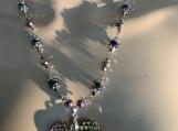 Rainbow titanium crystal heart necklace earring set 12