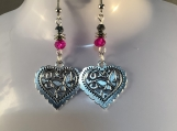 Silver heart hot pink crystal valentines earrings 4