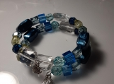 Blue Beaded Memory Wire Bracelet with Charm