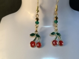 Gold red cherry dangle earrings free shipping 13