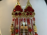 Gold red crystal CC chandelier earrings 33