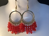 Gold red crystal chandelier earrings 21