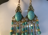 Gold turquoise chandelier earrings 26