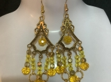 Gold yellow crystal chandelier earrings 34