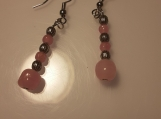 Pink and Silver Beaded Dangle Earrings