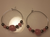 Pink and Silver Beaded Hoop Earrings