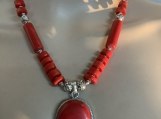 Red coral necklace earring set 22 free shipping