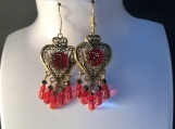 Red crystal gold heart valentines earrings 25