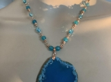 Rosegold aqua agate,aqua crystal bead necklace earring set 25