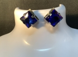 Royal blue square rhinestone stud earrings free shipping 11