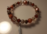Shades of Brown Beaded Memory Wire Bracelet with Charm