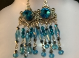 Silver aqua blue chandelier earrings 36