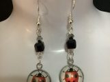 Silver black red ladybug earrings 28