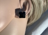 Silver black square rhinestone earrings 20