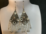 Silver clear crystal chandelier earrings 37