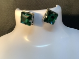Silver emerald green square rhinestone stud earrings 15