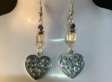 Silver heart clear crystal valentines earrings free shipping 14