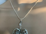 Silver heart valentine necklace earring set free shipping 25
