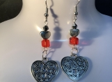 Silver heart valentines red crystal earrings 12