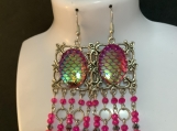 Silver hot pink chandelier earrings 35