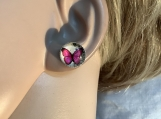 Silver pink butterfly stud earrings 8 free shipping