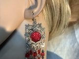 Silver red crystal chandelier earrings 27