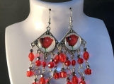 Silver red rose crystal chandelier earrings 22