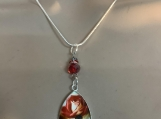 Silver red rose necklace earring set 23
