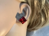 Silver red square crystal stud earrings free shipping 10