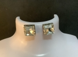 Silver square crystal stud earrings 9