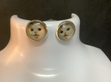 Silver white cat face stud earrings 31