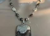 Sterling silver brown beige agate necklace earring set 22