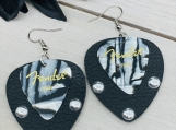 Fender Guitar Pick Black Silver Leather Earrings
