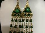 Gold emerald green chandelier earrings 53