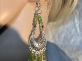 Long Silver peridot green chandelier earrings 54