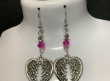Silver heart angel wing hot pink crystal earrings 48