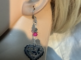 Silver heart hot pink crystal valentines earrings 42